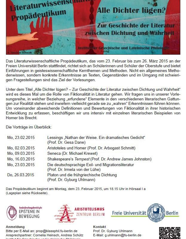 Literaturwissenschaftliches Propädeutikum an der FU Berlin